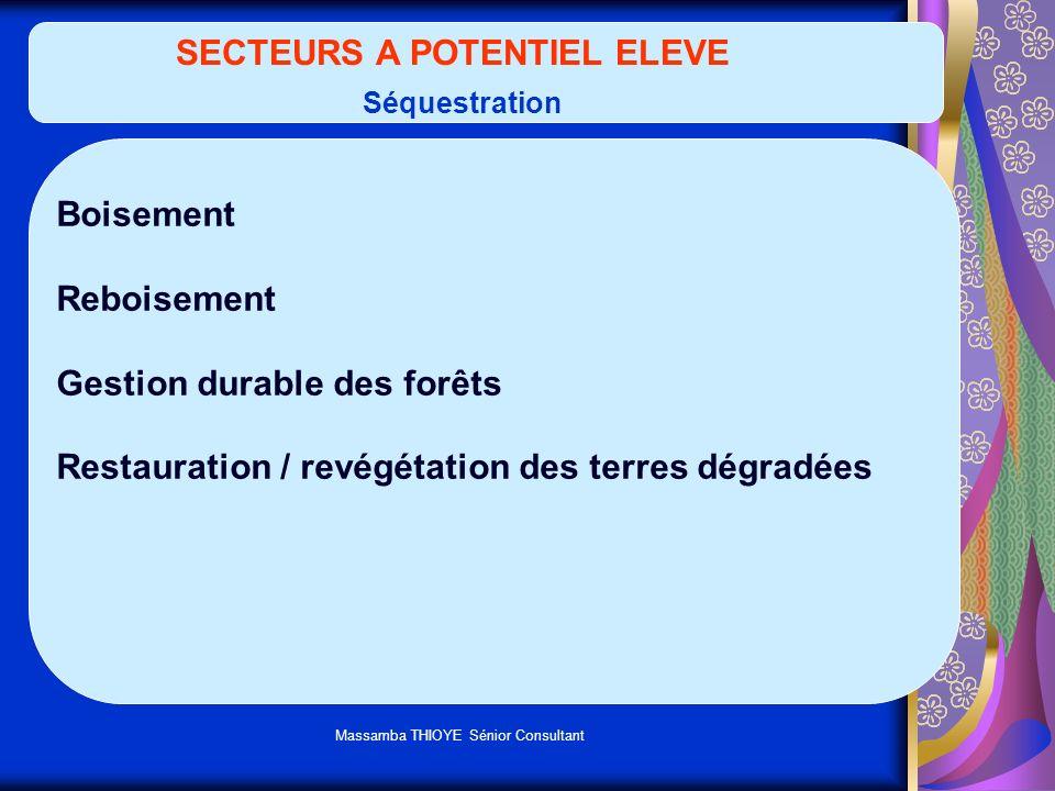 Massamba THIOYE Sénior Consultant SECTEURS A POTENTIEL ELEVE Séquestration Boisement Reboisement Gestion durable des forêts Restauration / revégétatio
