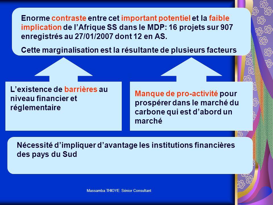 Massamba THIOYE Sénior Consultant Enorme contraste entre cet important potentiel et la faible implication de lAfrique SS dans le MDP: 16 projets sur 9