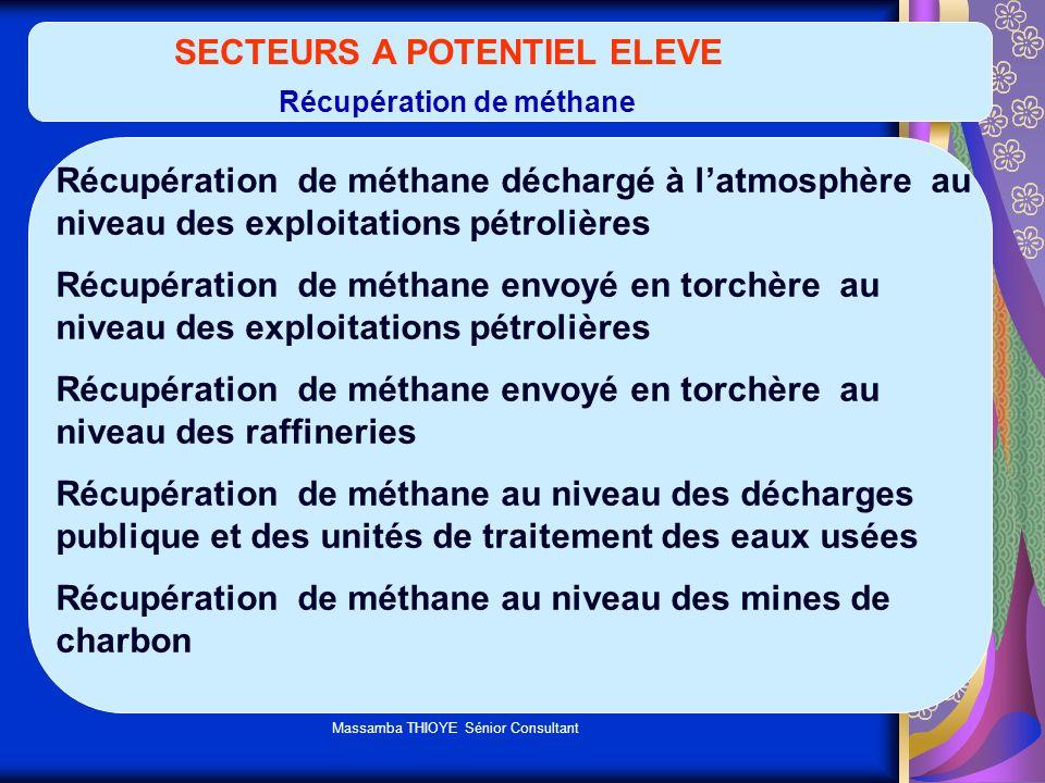 Massamba THIOYE Sénior Consultant SECTEURS A POTENTIEL ELEVE Récupération de méthane Récupération de méthane déchargé à latmosphère au niveau des expl
