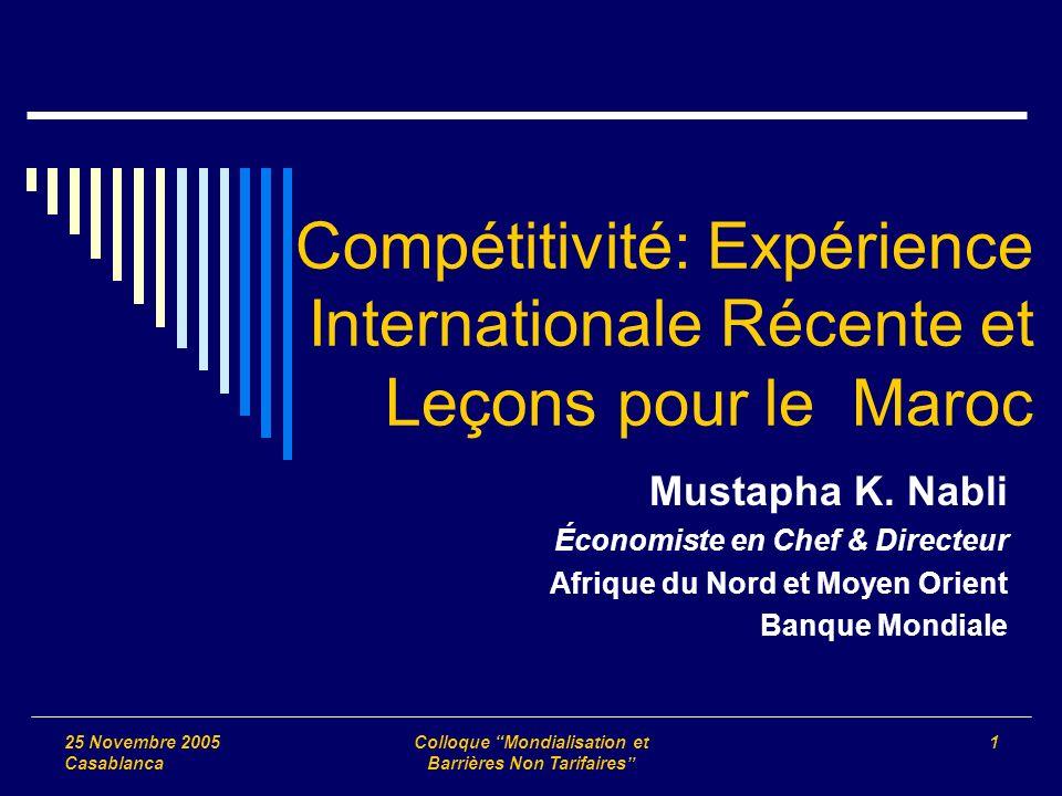 25 Novembre 2005 Casablanca Colloque Mondialisation et Barrières Non Tarifaires 1 Compétitivité: Expérience Internationale Récente et Leçons pour le Maroc Mustapha K.