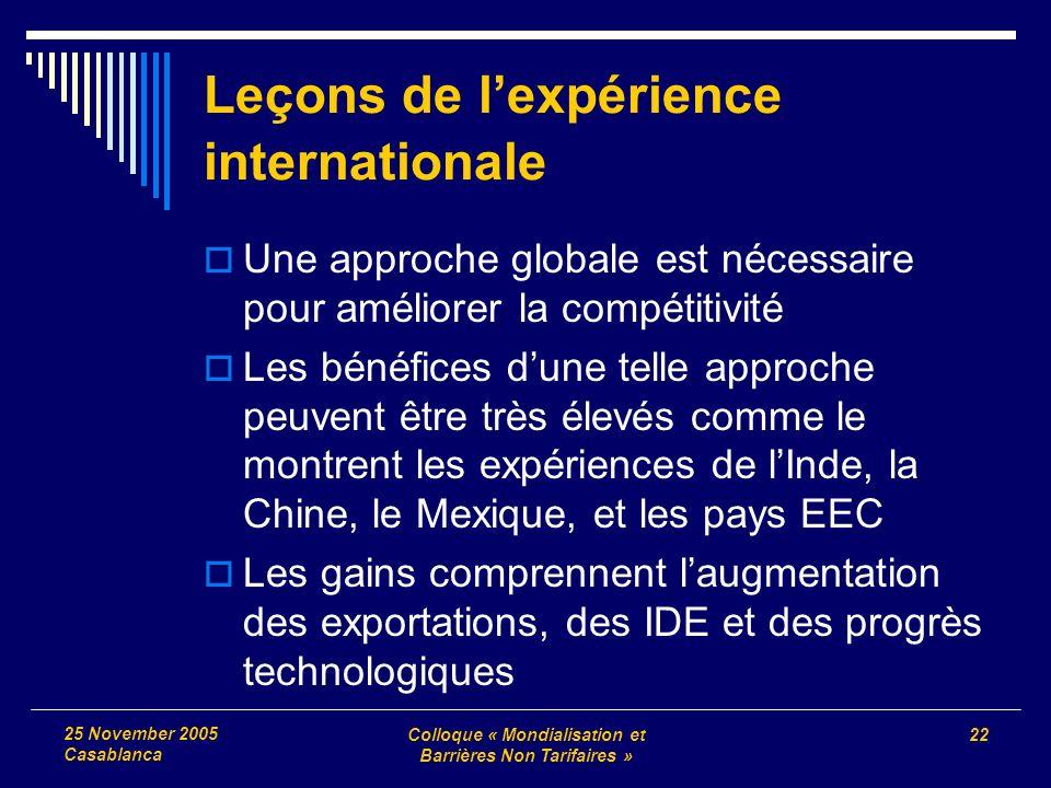 Colloque « Mondialisation et Barrières Non Tarifaires » 22 25 November 2005 Casablanca Leçons de lexpérience internationale Une approche globale est n