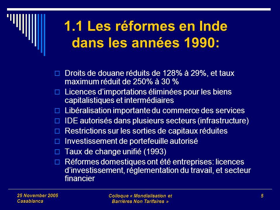 Colloque « Mondialisation et Barrières Non Tarifaires » 5 25 November 2005 Casablanca 1.1 Les réformes en Inde dans les années 1990: Droits de douane
