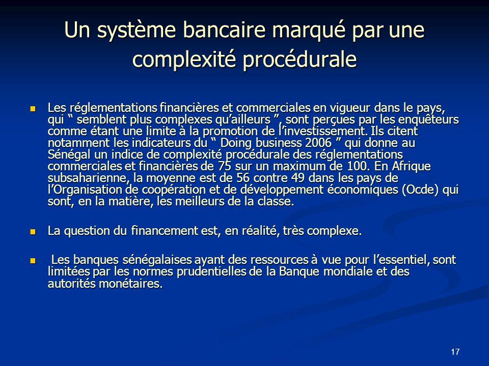 17 Un système bancaire marqué par une complexité procédurale Les réglementations financières et commerciales en vigueur dans le pays, qui semblent plu