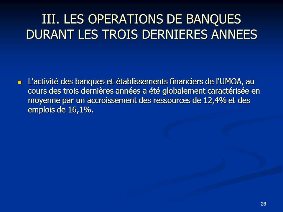26 III. LES OPERATIONS DE BANQUES DURANT LES TROIS DERNIERES ANNEES L'activité des banques et établissements financiers de l'UMOA, au cours des trois