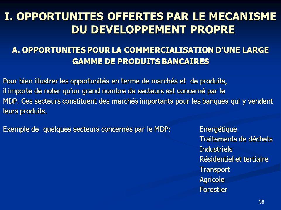 38 I. OPPORTUNITES OFFERTES PAR LE MECANISME DU DEVELOPPEMENT PROPRE A. OPPORTUNITES POUR LA COMMERCIALISATION DUNE LARGE GAMME DE PRODUITS BANCAIRES