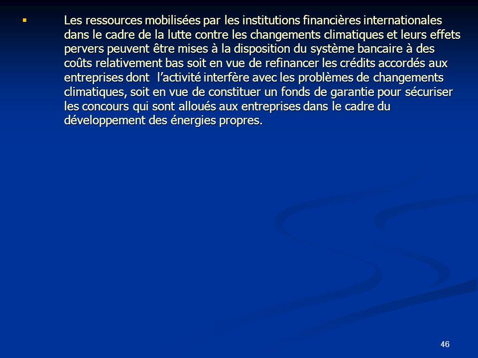 46 Les ressources mobilisées par les institutions financières internationales dans le cadre de la lutte contre les changements climatiques et leurs ef