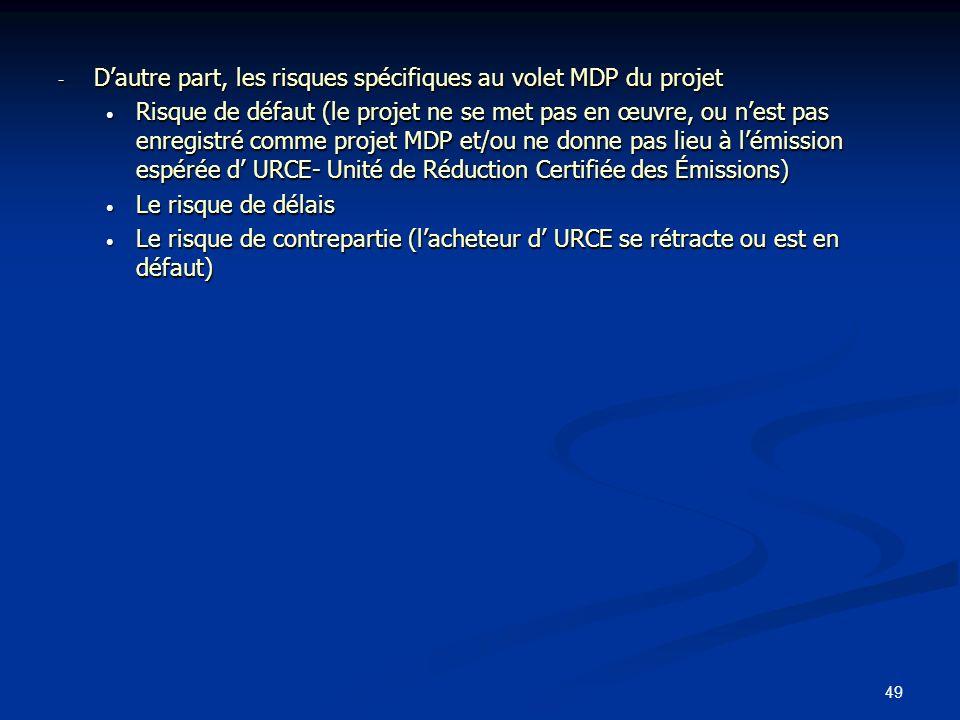 49 - Dautre part, les risques spécifiques au volet MDP du projet Risque de défaut (le projet ne se met pas en œuvre, ou nest pas enregistré comme proj