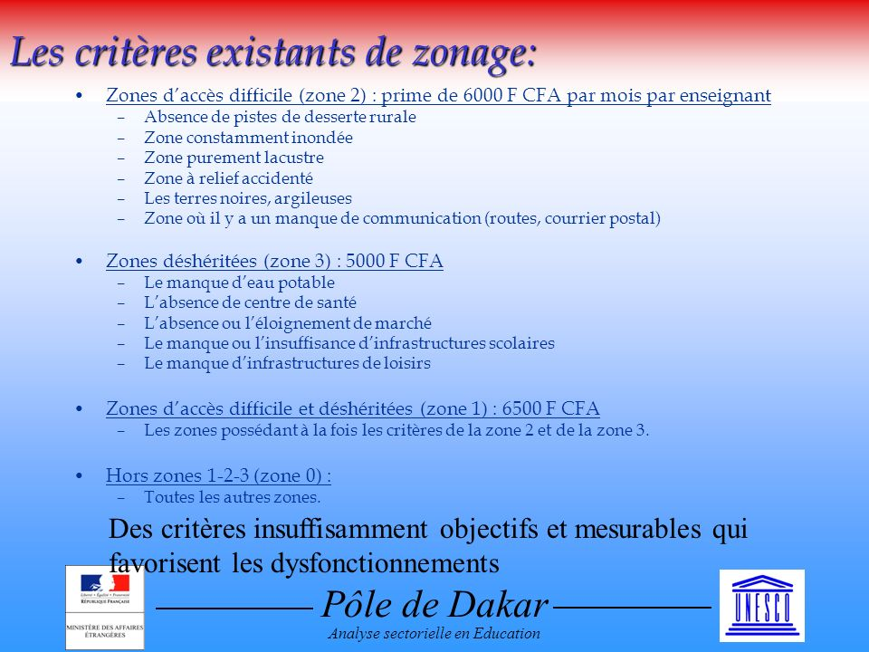 Pôle de Dakar Analyse sectorielle en Education Les critères existants de zonage: Zones daccès difficile (zone 2) : prime de 6000 F CFA par mois par en