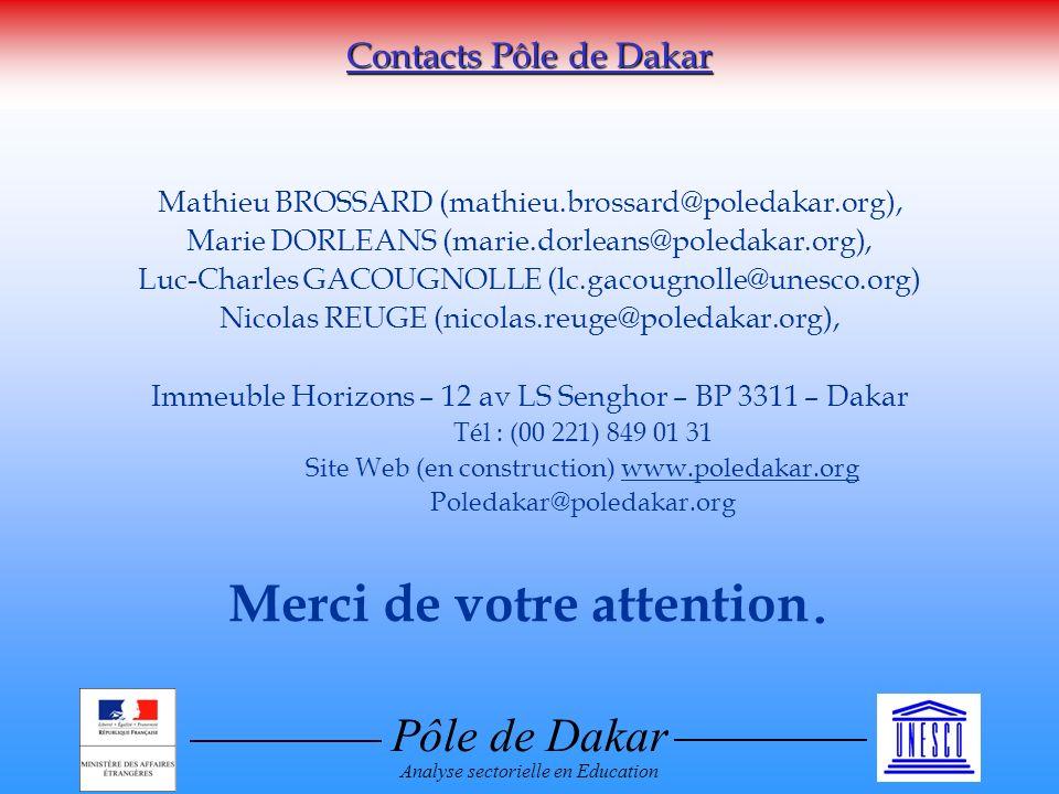 Pôle de Dakar Analyse sectorielle en Education Mathieu BROSSARD (mathieu.brossard@poledakar.org), Marie DORLEANS (marie.dorleans@poledakar.org), Luc-Charles GACOUGNOLLE (lc.gacougnolle@unesco.org) Nicolas REUGE (nicolas.reuge@poledakar.org), Immeuble Horizons – 12 av LS Senghor – BP 3311 – Dakar Tél : (00 221) 849 01 31 Site Web (en construction) www.poledakar.org Poledakar@poledakar.org Merci de votre attention.