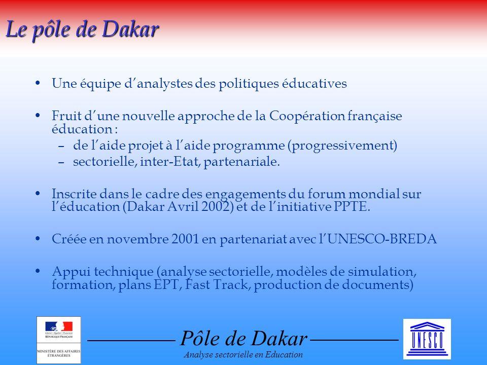 Pôle de Dakar Analyse sectorielle en Education Une équipe danalystes des politiques éducatives Fruit dune nouvelle approche de la Coopération française éducation : –de laide projet à laide programme (progressivement) –sectorielle, inter-Etat, partenariale.