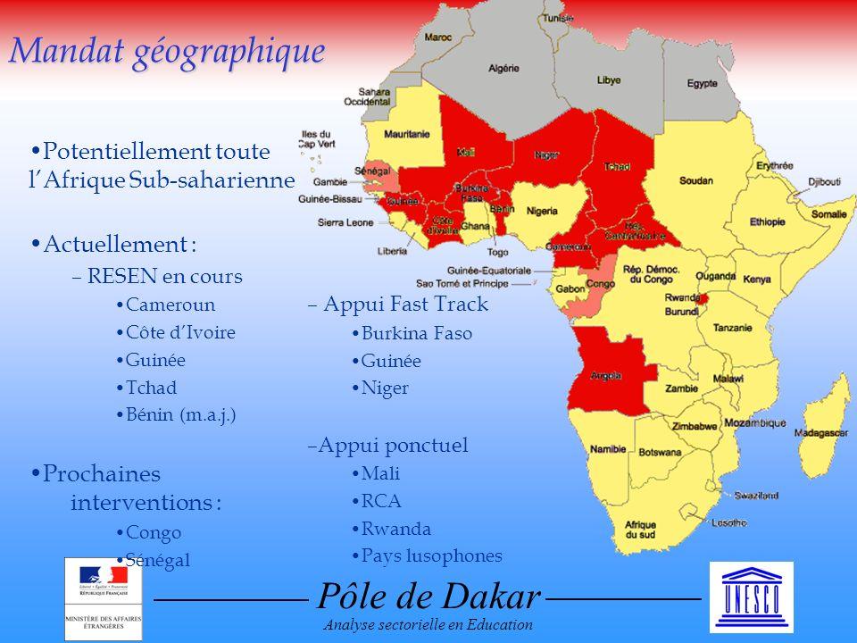 Pôle de Dakar Analyse sectorielle en Education Potentiellement toute lAfrique Sub-saharienne Actuellement : – RESEN en cours Cameroun Côte dIvoire Gui