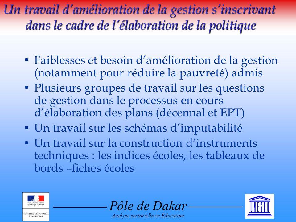 Pôle de Dakar Analyse sectorielle en Education Un travail damélioration de la gestion sinscrivant dans le cadre de lélaboration de la politique Faible