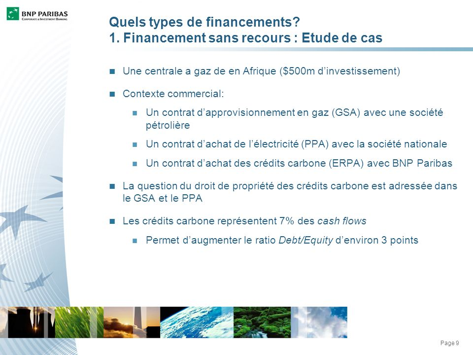 Page 9 Quels types de financements. 1.
