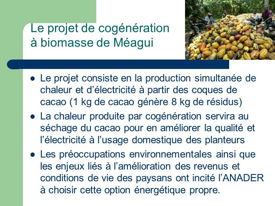 Le projet de cogénération à biomasse de Méagui Le projet consiste en la production simultanée de chaleur et délectricité à partir des coques de cacao