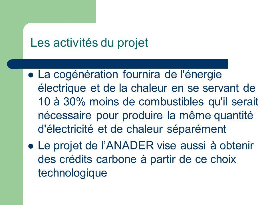 Les activités du projet La cogénération fournira de l'énergie électrique et de la chaleur en se servant de 10 à 30% moins de combustibles qu'il serait