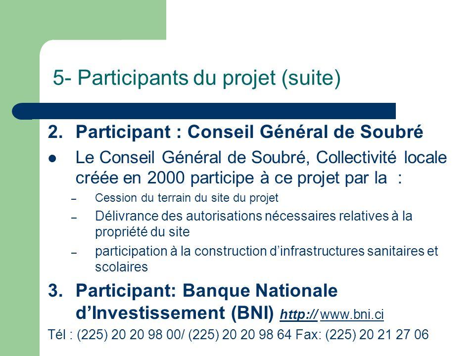 5- Participants du projet (suite) 2.Participant : Conseil Général de Soubré Le Conseil Général de Soubré, Collectivité locale créée en 2000 participe