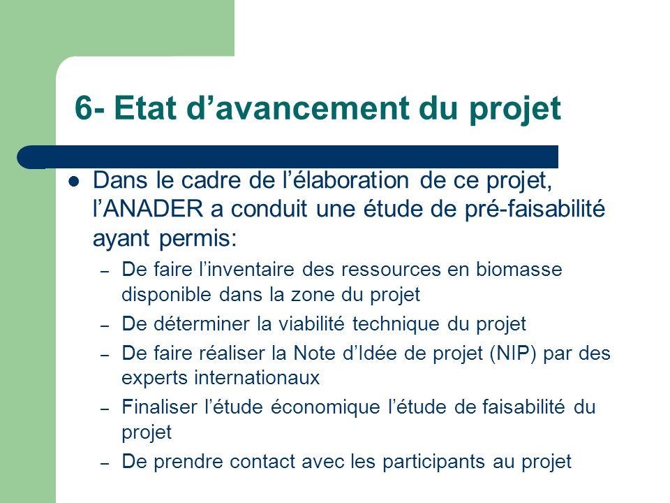 6- Etat davancement du projet Dans le cadre de lélaboration de ce projet, lANADER a conduit une étude de pré-faisabilité ayant permis: – De faire linv