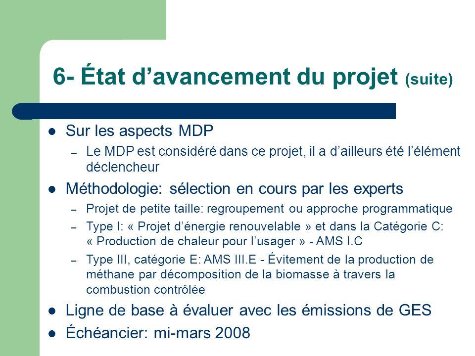 6- État davancement du projet (suite) Sur les aspects MDP – Le MDP est considéré dans ce projet, il a dailleurs été lélément déclencheur Méthodologie: