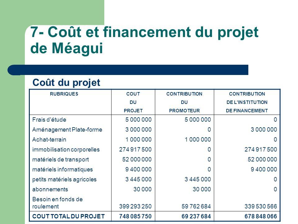 7- Coût et financement du projet de Méagui Coût du projet RUBRIQUES COUTCONTRIBUTION DU DE L'INSTITUTION PROJETPROMOTEURDE FINANCEMENT Frais d'étude5