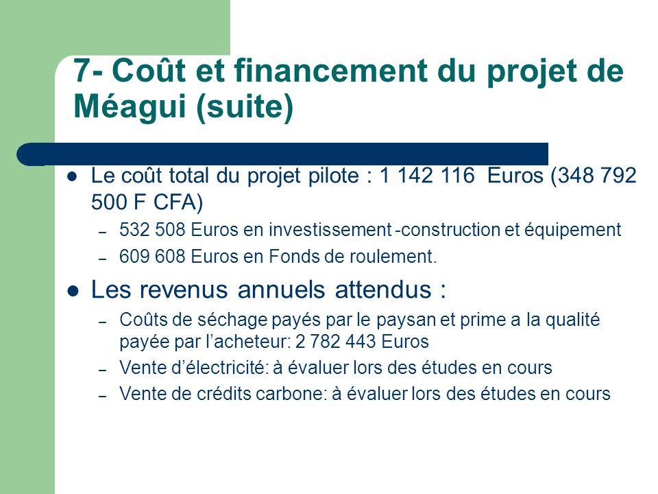 7- Coût et financement du projet de Méagui (suite) Le coût total du projet pilote : 1 142 116 Euros (348 792 500 F CFA) – 532 508 Euros en investissem