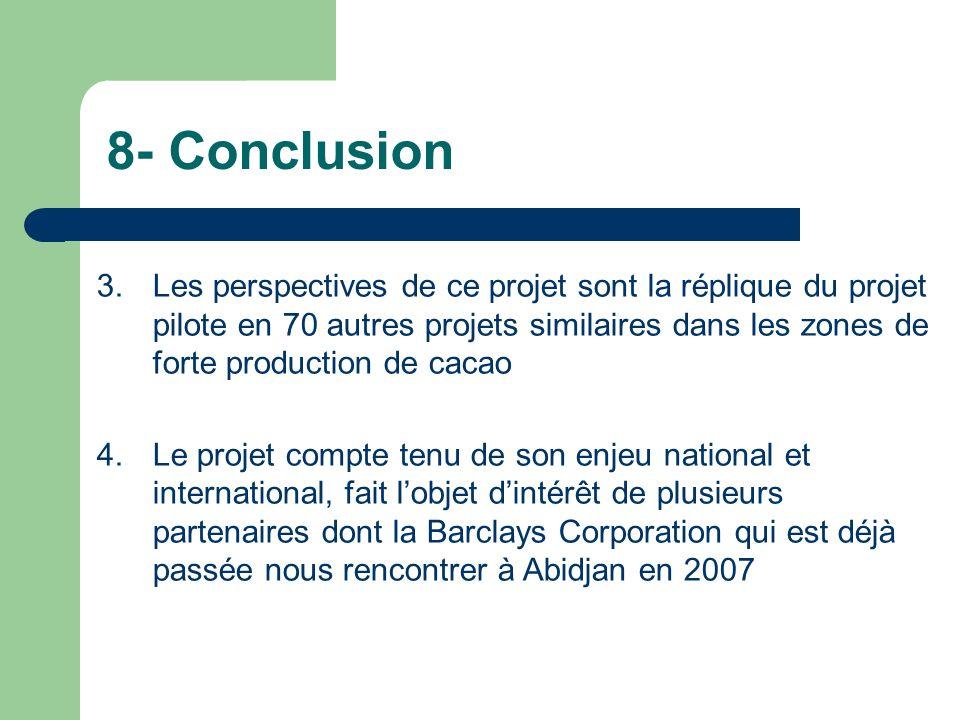 8- Conclusion 3.Les perspectives de ce projet sont la réplique du projet pilote en 70 autres projets similaires dans les zones de forte production de