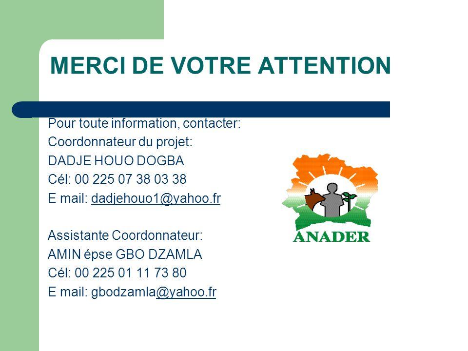 MERCI DE VOTRE ATTENTION Pour toute information, contacter: Coordonnateur du projet: DADJE HOUO DOGBA Cél: 00 225 07 38 03 38 E mail: dadjehouo1@yahoo