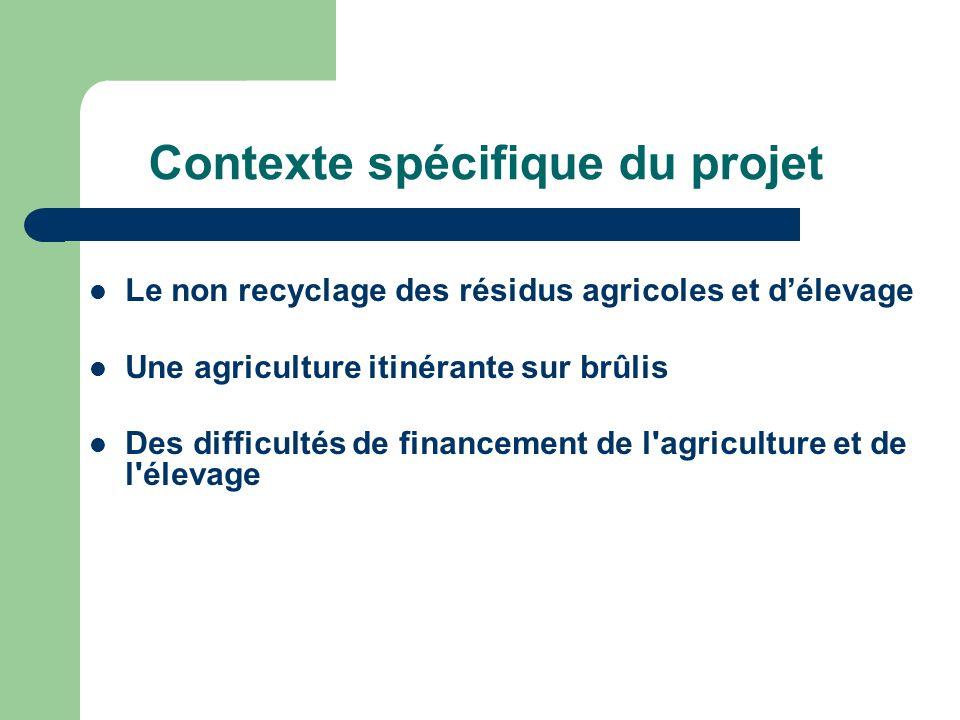 Contexte spécifique du projet Le non recyclage des résidus agricoles et délevage Une agriculture itinérante sur brûlis Des difficultés de financement