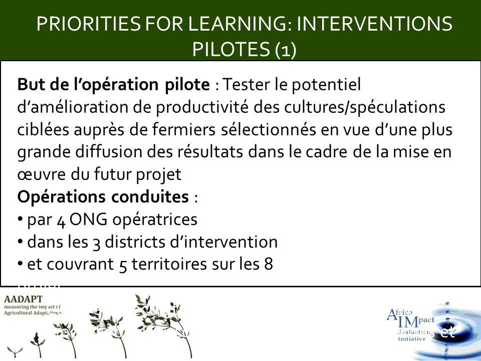 Title PRIORITIES FOR LEARNING: INTERVENTIONS PILOTES (1) But de lopération pilote : Tester le potentiel damélioration de productivité des cultures/spé
