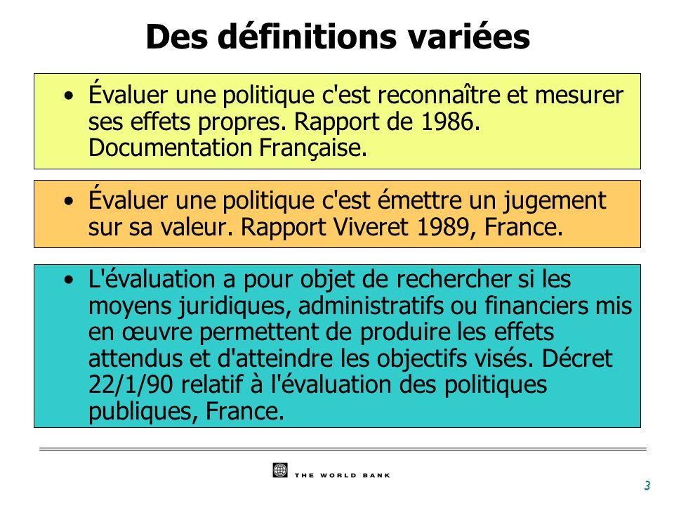 3 Évaluer une politique c'est reconnaître et mesurer ses effets propres. Rapport de 1986. Documentation Française. Évaluer une politique c'est émettre