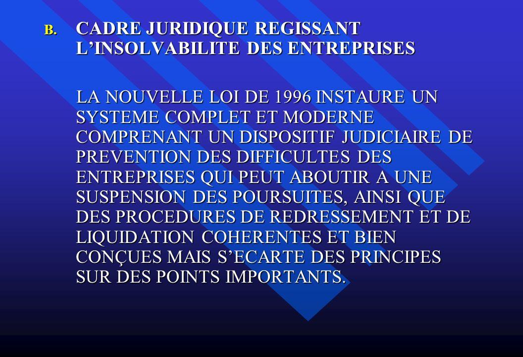 B. CADRE JURIDIQUE REGISSANT LINSOLVABILITE DES ENTREPRISES LA NOUVELLE LOI DE 1996 INSTAURE UN SYSTEME COMPLET ET MODERNE COMPRENANT UN DISPOSITIF JU
