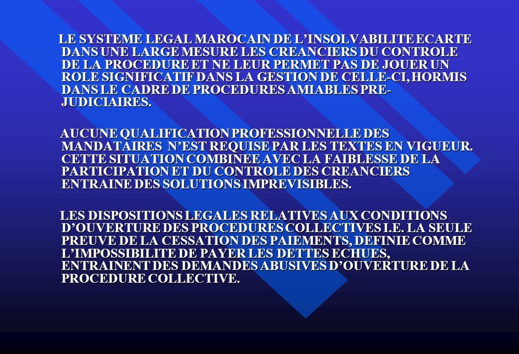 LE SYSTEME LEGAL MAROCAIN DE LINSOLVABILITE ECARTE DANS UNE LARGE MESURE LES CREANCIERS DU CONTROLE DE LA PROCEDURE ET NE LEUR PERMET PAS DE JOUER UN