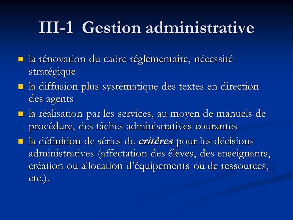 III-1 Gestion administrative la rénovation du cadre réglementaire, nécessité stratégique la rénovation du cadre réglementaire, nécessité stratégique la diffusion plus systématique des textes en direction des agents la diffusion plus systématique des textes en direction des agents la réalisation par les services, au moyen de manuels de procédure, des tâches administratives courantes la réalisation par les services, au moyen de manuels de procédure, des tâches administratives courantes la définition de séries de critères pour les décisions administratives (affectation des élèves, des enseignants, création ou allocation déquipements ou de ressources, etc.).