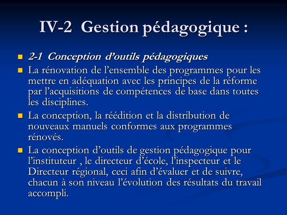 IV-2 Gestion pédagogique : 2-1 Conception doutils pédagogiques 2-1 Conception doutils pédagogiques La rénovation de lensemble des programmes pour les mettre en adéquation avec les principes de la réforme par lacquisitions de compétences de base dans toutes les disciplines.