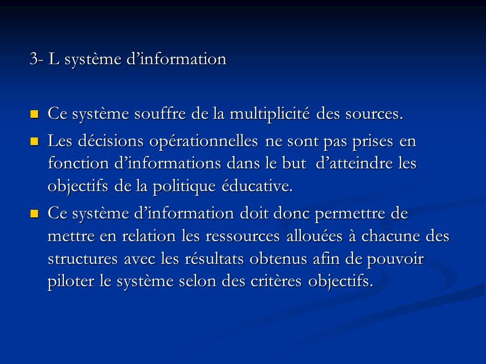 3- L système dinformation Ce système souffre de la multiplicité des sources.