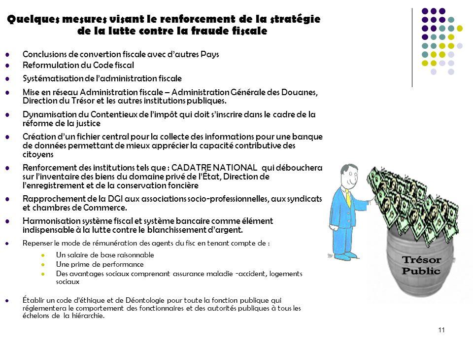 11 Quelques mesures visant le renforcement de la stratégie de la lutte contre la fraude fiscale Conclusions de convertion fiscale avec dautres Pays Re