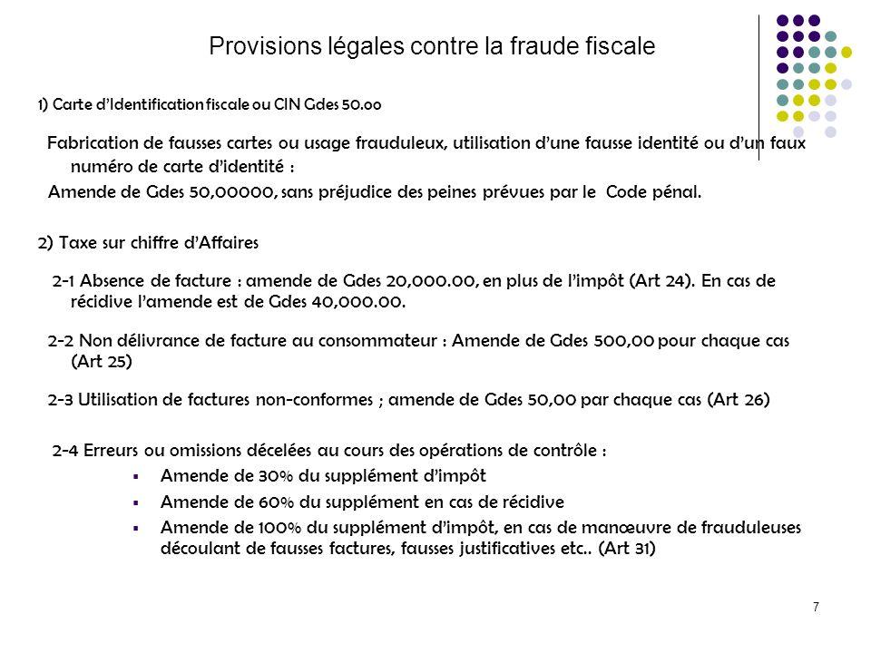 7 Provisions légales contre la fraude fiscale 1) Carte dIdentification fiscale ou CIN Gdes 50.oo Fabrication de fausses cartes ou usage frauduleux, ut