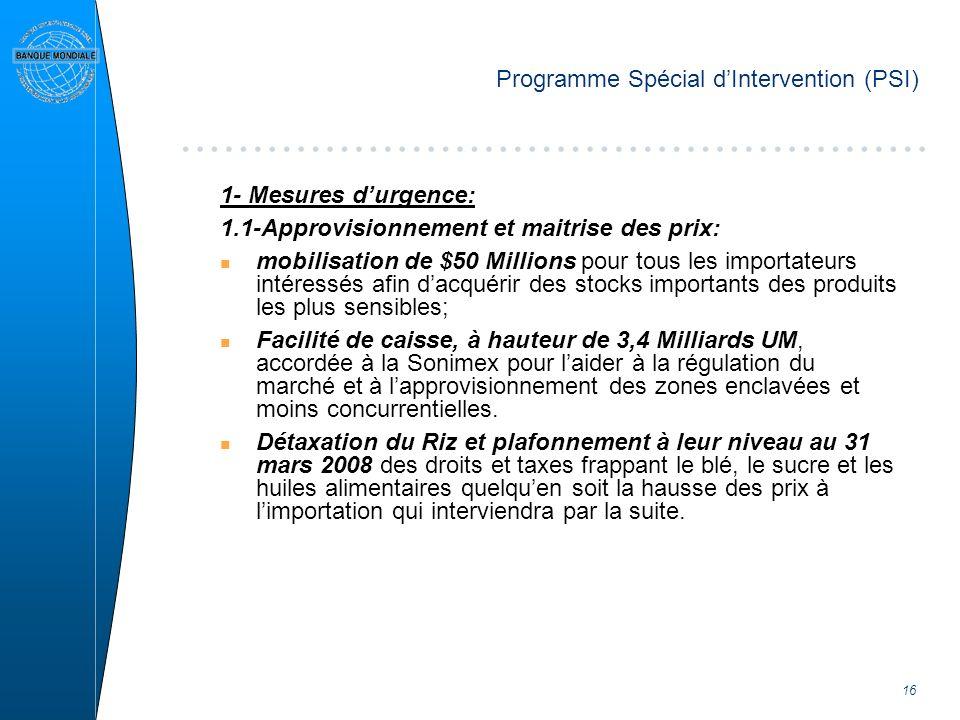 16 Programme Spécial dIntervention (PSI) 1- Mesures durgence: 1.1-Approvisionnement et maitrise des prix: n mobilisation de $50 Millions pour tous les