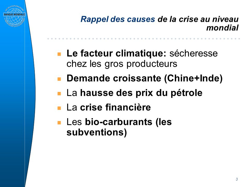 3 Rappel des causes de la crise au niveau mondial n Le facteur climatique: sécheresse chez les gros producteurs n Demande croissante (Chine+Inde) n La hausse des prix du pétrole n La crise financière n Les bio-carburants (les subventions)