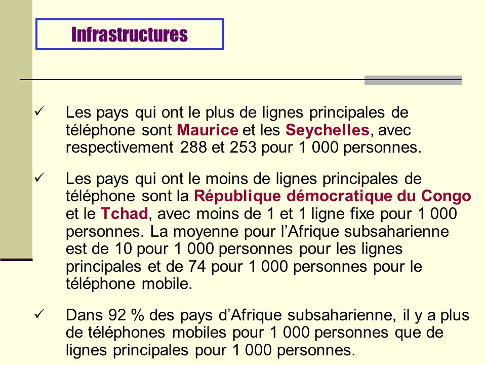 Les pays qui ont le plus de lignes principales de téléphone sont Maurice et les Seychelles, avec respectivement 288 et 253 pour 1 000 personnes.
