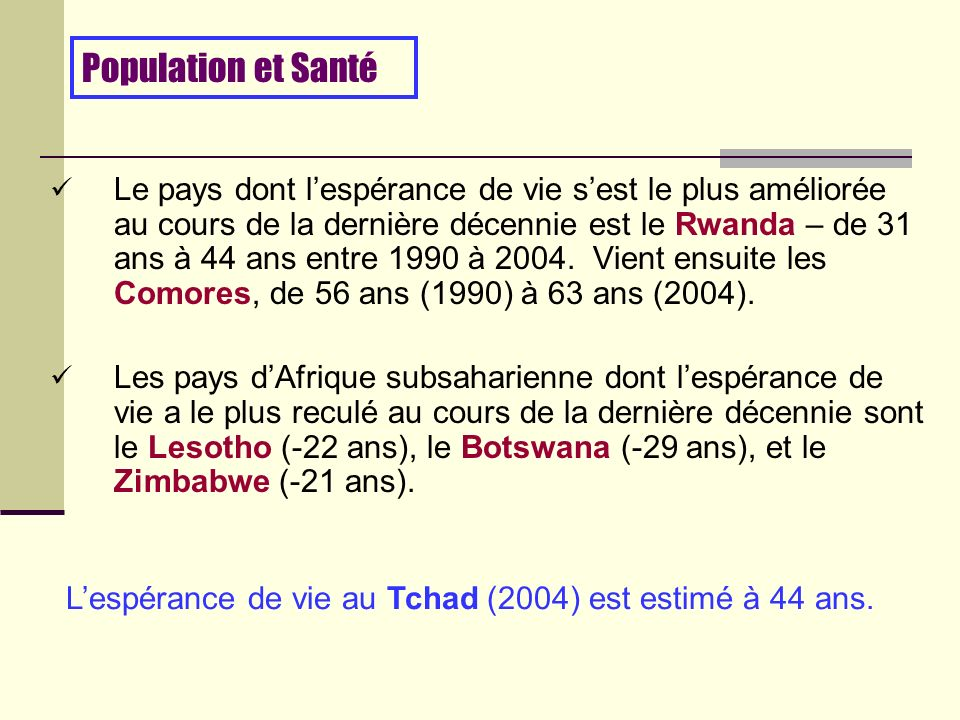 Le pays dont lespérance de vie sest le plus améliorée au cours de la dernière décennie est le Rwanda – de 31 ans à 44 ans entre 1990 à 2004.
