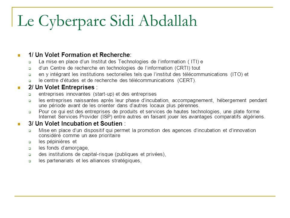Le Cyberparc Sidi Abdallah 1/ Un Volet Formation et Recherche: La mise en place dun Institut des Technologies de linformation ( ITI) e dun Centre de r