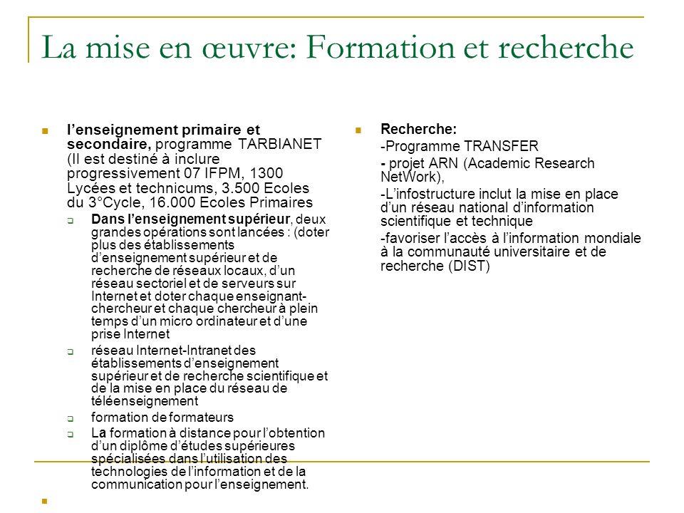 La mise en œuvre: Formation et recherche lenseignement primaire et secondaire, programme TARBIANET (Il est destiné à inclure progressivement 07 IFPM,