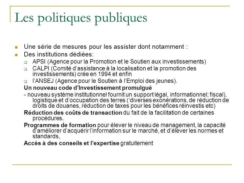 Les politiques publiques Une série de mesures pour les assister dont notamment : Des institutions dédiées: APSI (Agence pour la Promotion et le Soutie