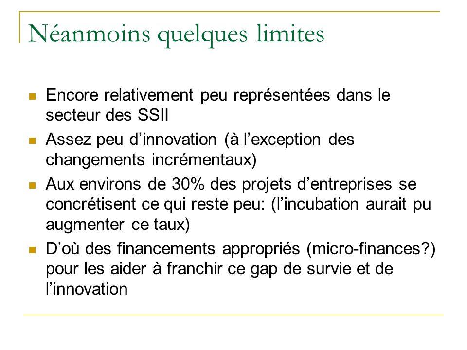 Néanmoins quelques limites Encore relativement peu représentées dans le secteur des SSII Assez peu dinnovation (à lexception des changements incrément