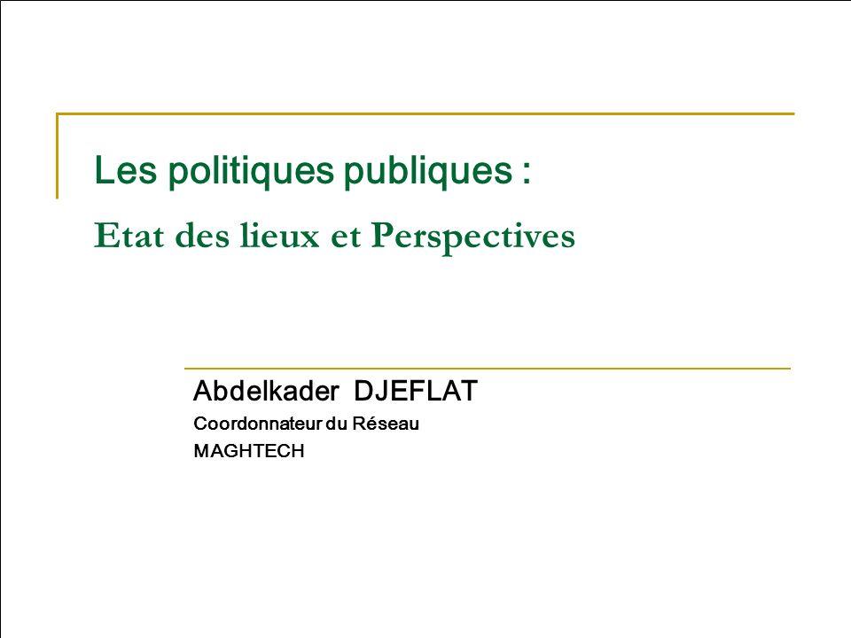 Les politiques publiques : Etat des lieux et Perspectives Abdelkader DJEFLAT Coordonnateur du Réseau MAGHTECH