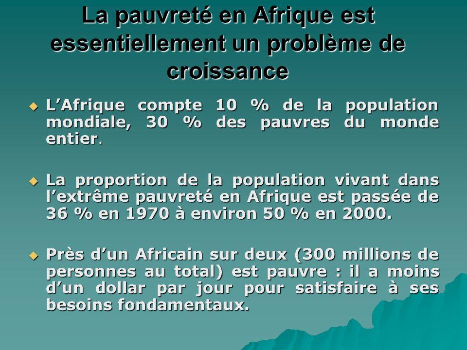 Le sentier de croissance des revenus diverge des sentiers dautres régions 1960-2004 Le taux daugmentation du revenu par habitant est de 0,5 % en Afrique contre 2,5 % dans dautres régions en développement.