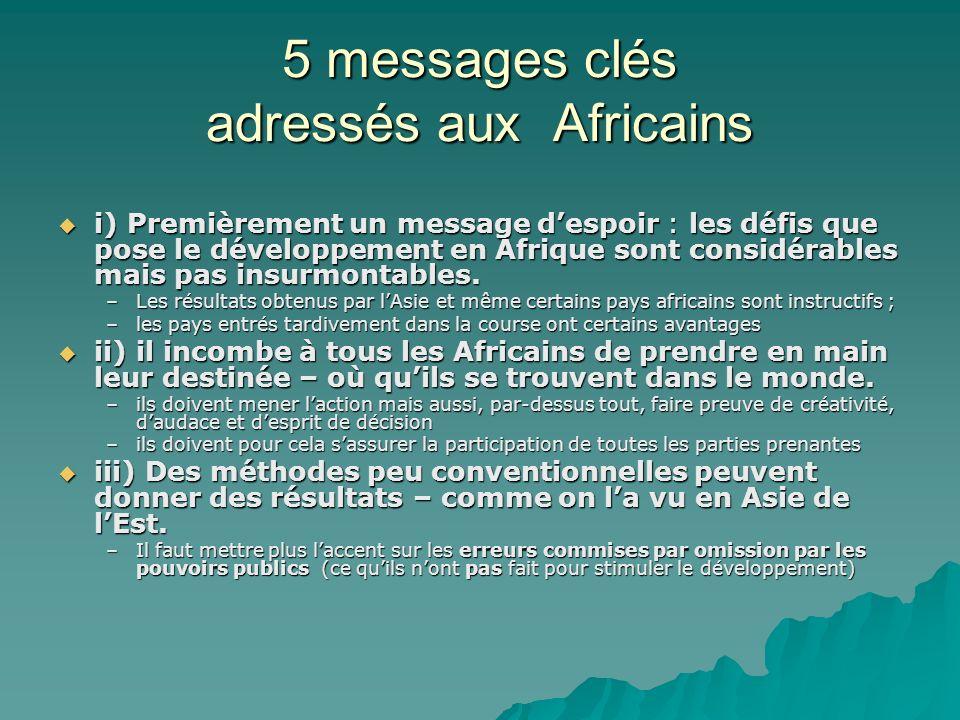 5 messages clés adressés aux Africains i) Premièrement un message despoir : les défis que pose le développement en Afrique sont considérables mais pas insurmontables.