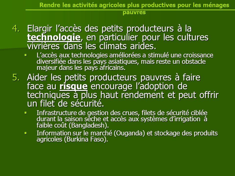 4.Elargir laccès des petits producteurs à la technologie, en particulier pour les cultures vivrières dans les climats arides.