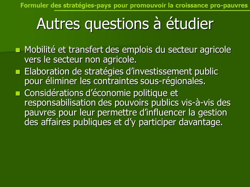 Autres questions à étudier Mobilité et transfert des emplois du secteur agricole vers le secteur non agricole.