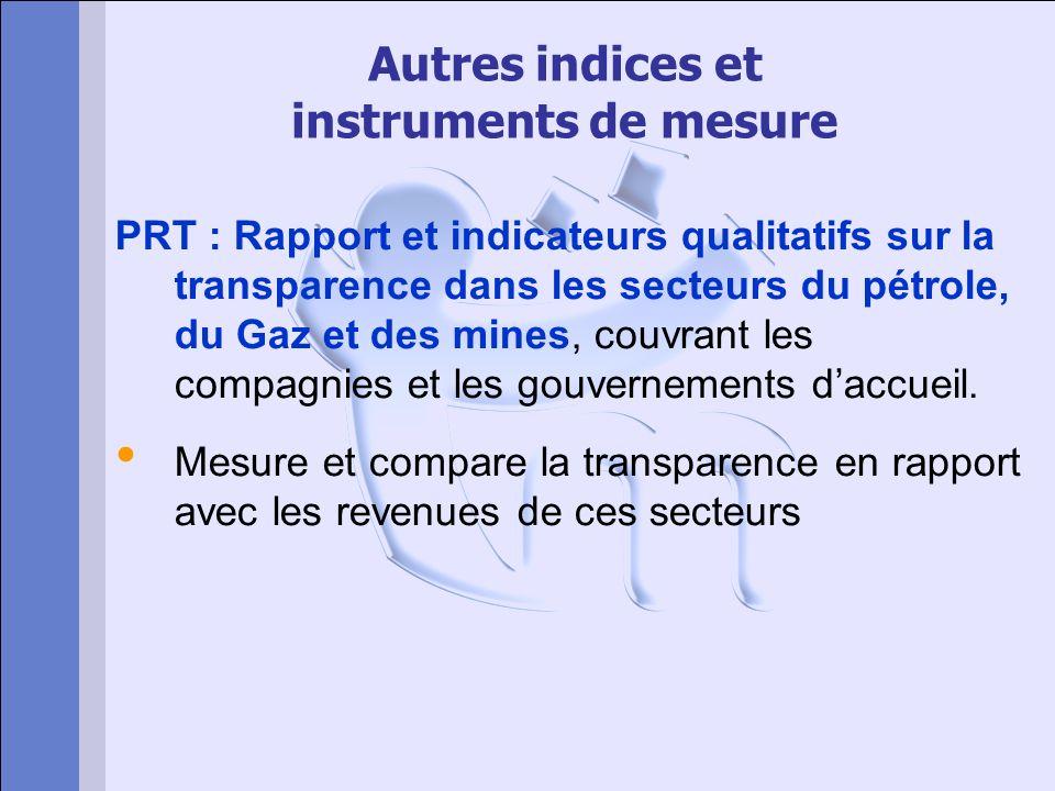 Autres indices et instruments de mesure PRT : Rapport et indicateurs qualitatifs sur la transparence dans les secteurs du pétrole, du Gaz et des mines